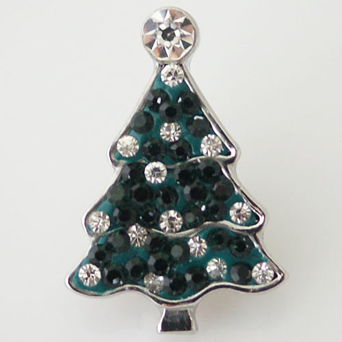 Snap Jewelry Rhinestone - Holiday Green & Clear Christmas Tree