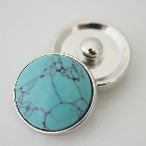 Snap Jewelry Gemstones - Turquoise Silver Trim Lg