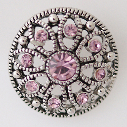 Snap Jewelry Rhinestone - Marcasite Flower & Light Pink