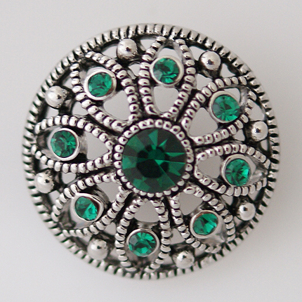 Snap Jewelry Rhinestone - Marcasite Flower & Green