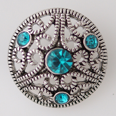 Snap Jewelry Rhinestone - Marcasite Scroll & Teal