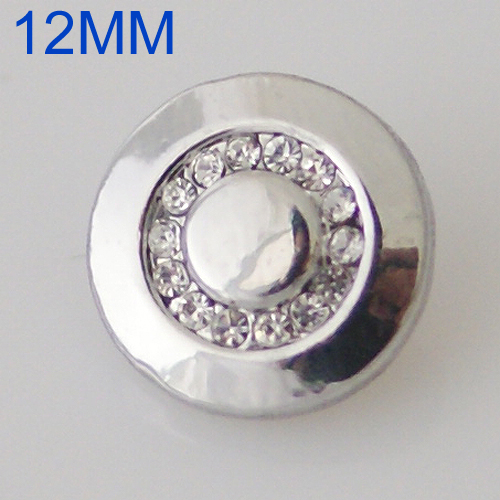 Mini Snap 12mm - Rhinestone Silver band with Large Stone