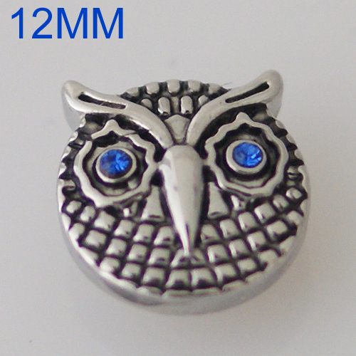 Mini Snap 12mm - Metal Owl with Blue Eyes