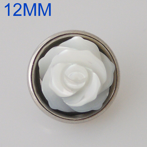 Mini Snap 12mm - Pearl & Stone Flower White