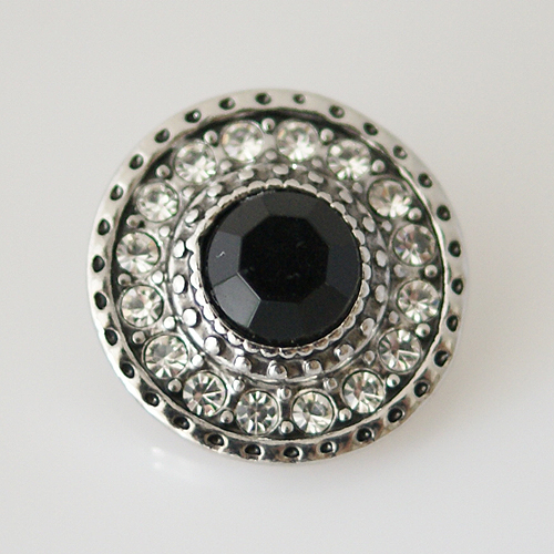 Snap Jewelry Rhinestone - Black & Clear Dome
