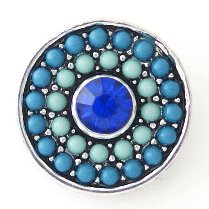 Snap Jewelry Rhinestone - Dots Blue with Blue Rhinestone