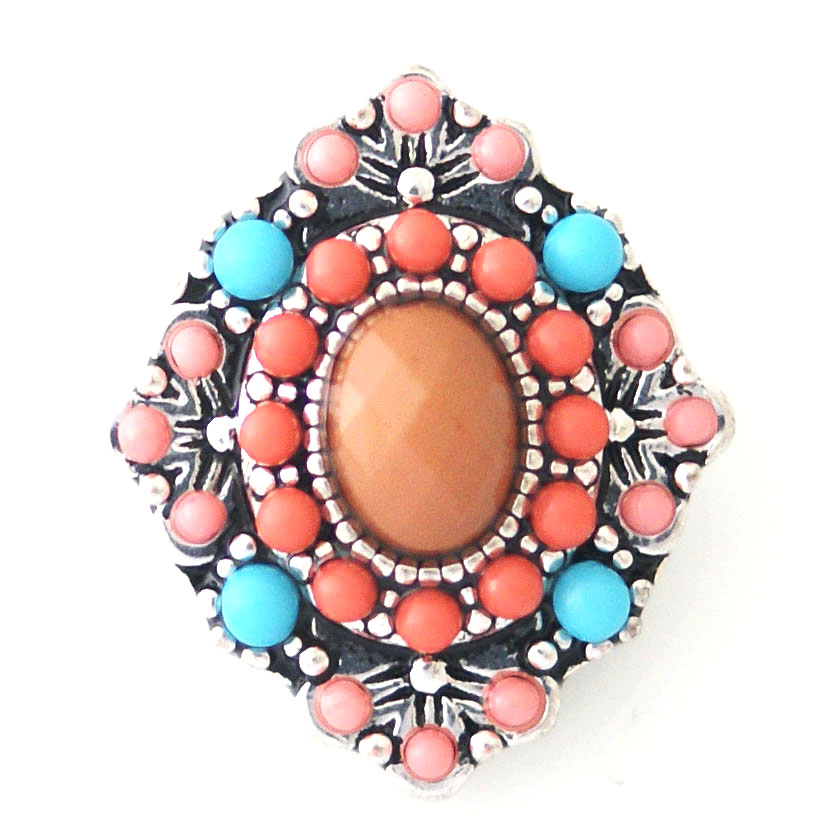 Snap Jewelry Stone - Coral & Teal