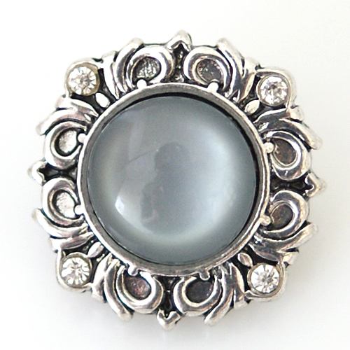 Snap Jewelry Gemstones - Cats Eye Scroll - Gray