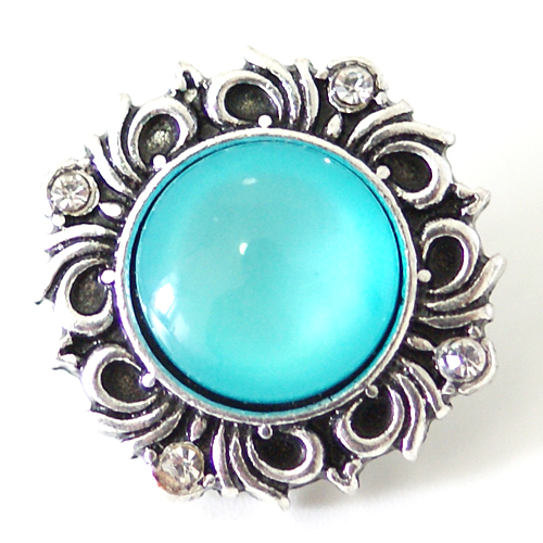 Snap Jewelry Gemstones - Cats Eye Scroll - Light Blue