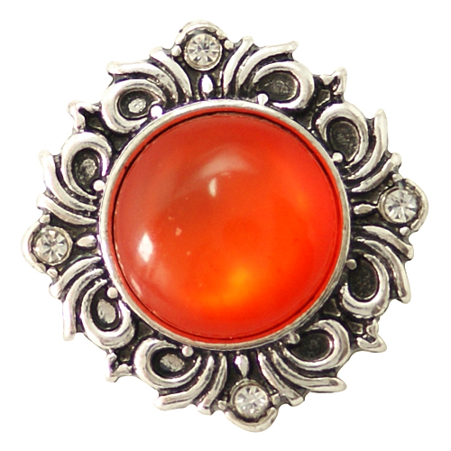 Snap Jewelry Gemstones - Cats Eye Scroll - Coral Orange