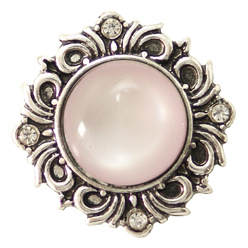 Snap Jewelry Gemstones - Cats Eye Scroll - Light Pink
