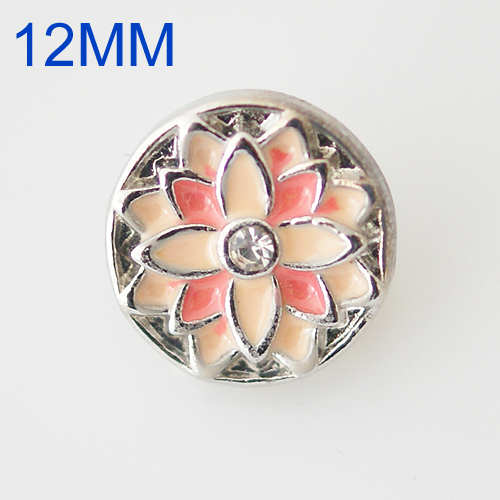 Mini Snap 12mm - Enamel Flower Peach and Pink