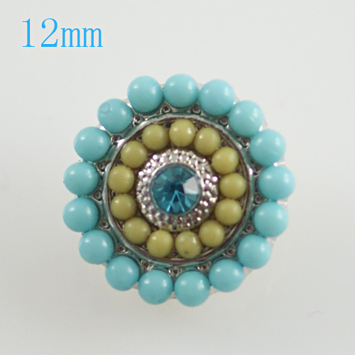 Mini Snap 12mm - Pearl Dots Blue and Yellow