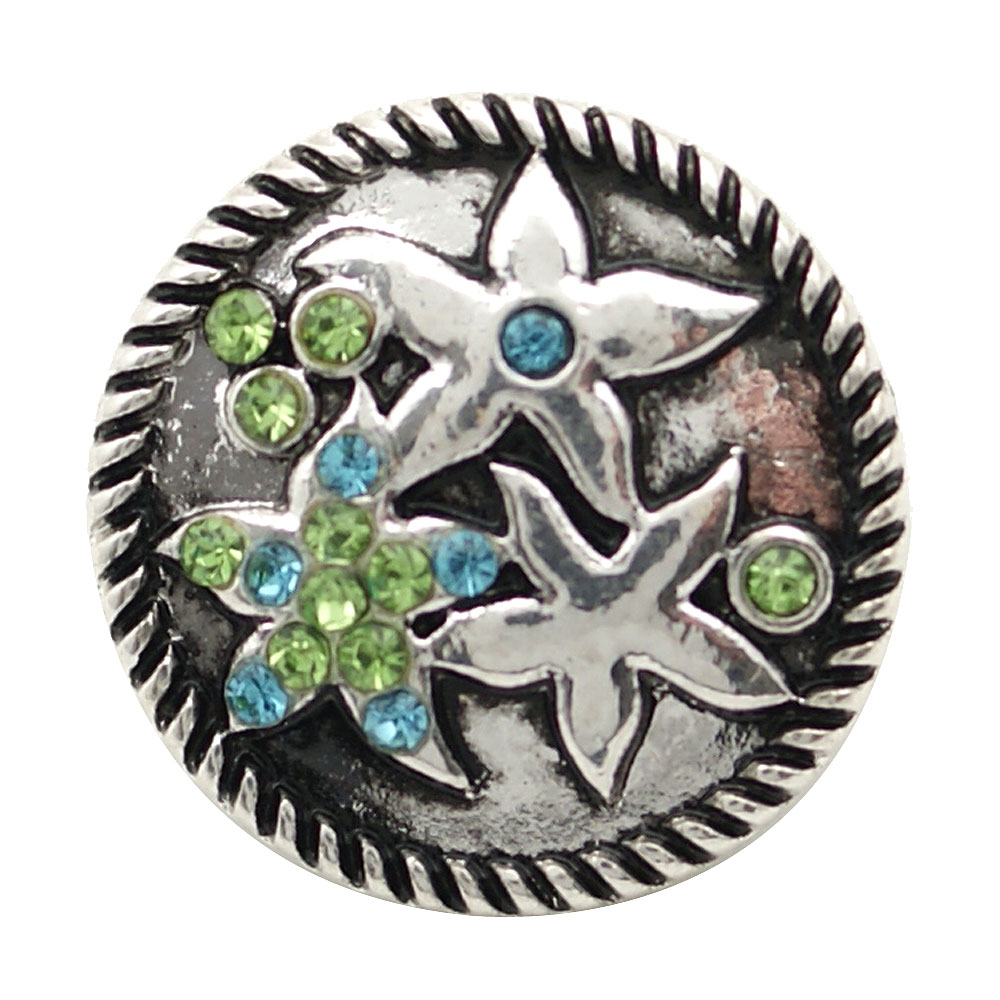Snap Jewelry Rhinestone - Starfish Blue & Green