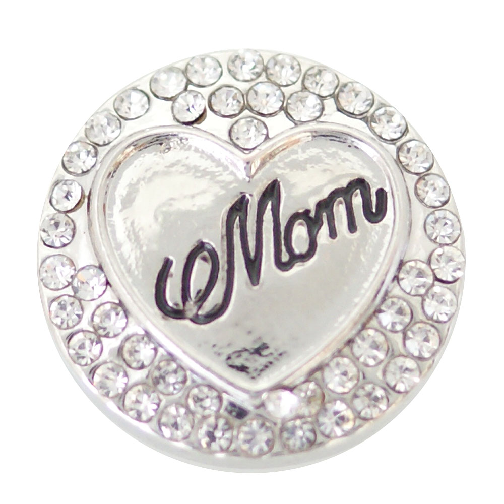Snap Jewelry Rhinestone - Mom Heart Clear Rhinestones