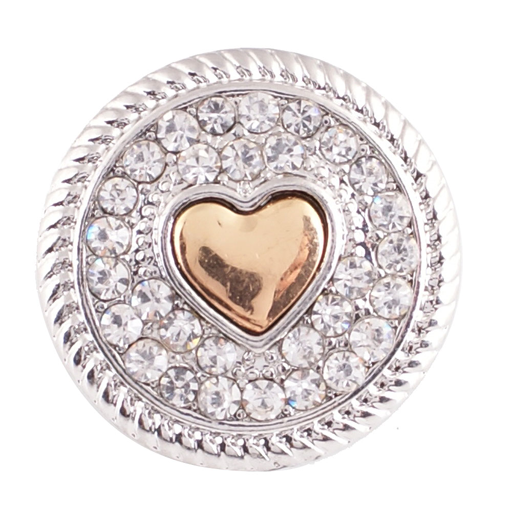 Snap Jewelry Rhinestone - Heart Silver & Gold