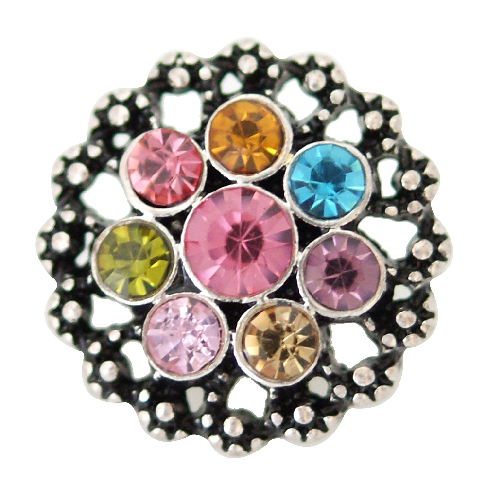 Snap Jewelry Rhinestone - Antique Flower Multi Color