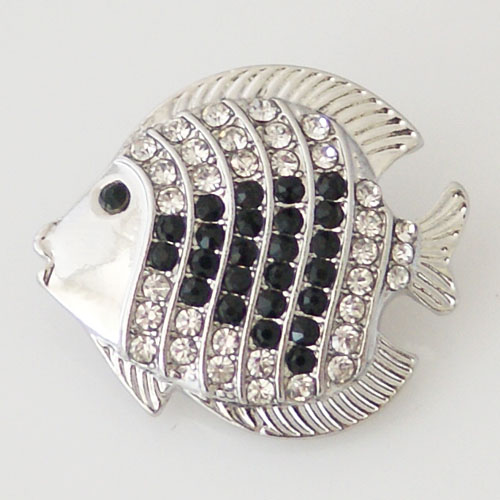 Snap Jewelry Rhinestone - Fish Black & Clear