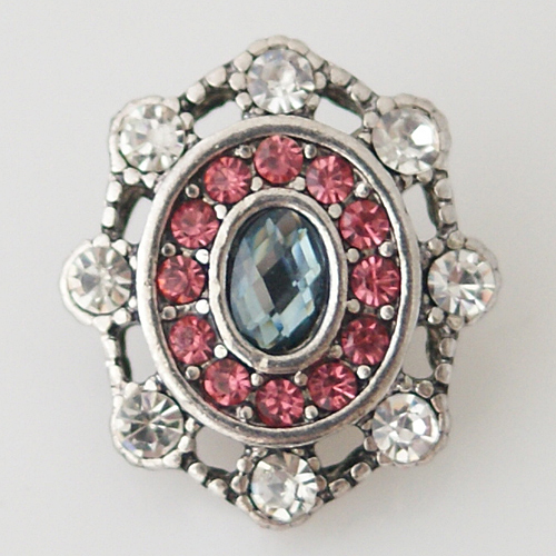 Snap Jewelry Rhinestone - White, Pink & Blue Oval