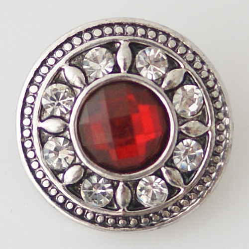 Snap Jewelry Rhinestone - Red Center & Clear