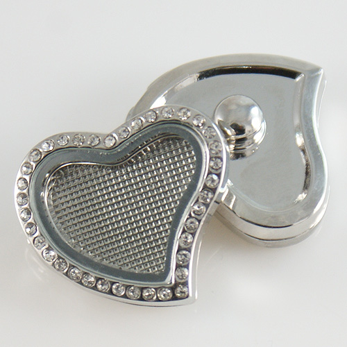 Snap Jewelry Memory Locket Snap - Clear Heart Rhinestone