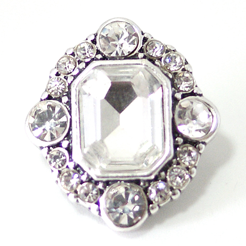 Snap Jewelry Rhinestone - Square Clear Stone
