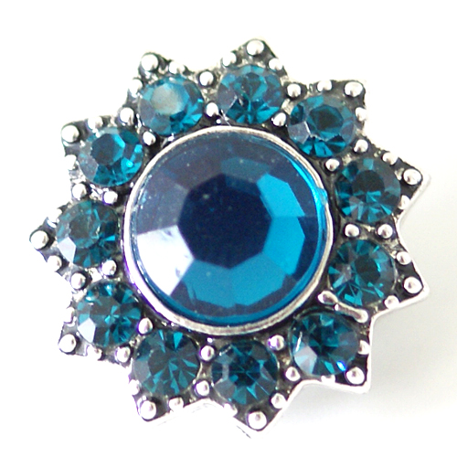 Snap Jewelry Rhinestone - Designer Faceted Teal Blue