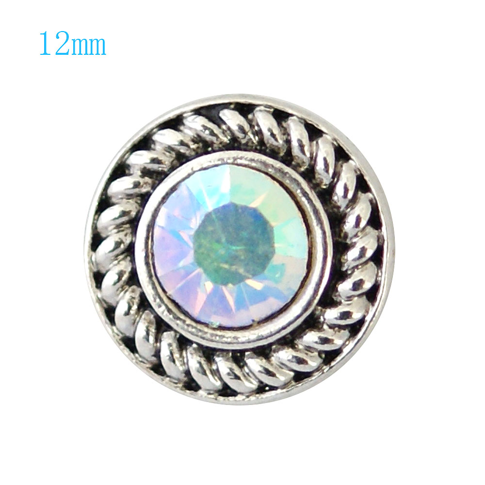 Mini Snap 12mm - Rhinestone Faceted AB
