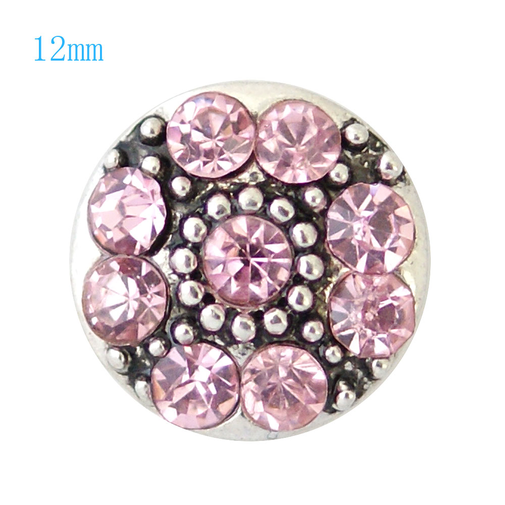 Mini Snap 12mm - Rhinestone Pink with Dots