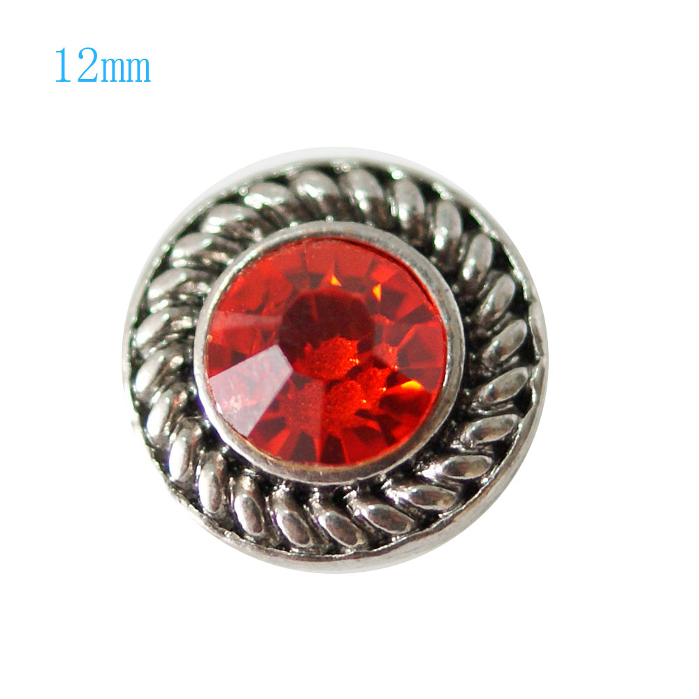 Mini Snap 12mm - Rhinestone Faceted Red