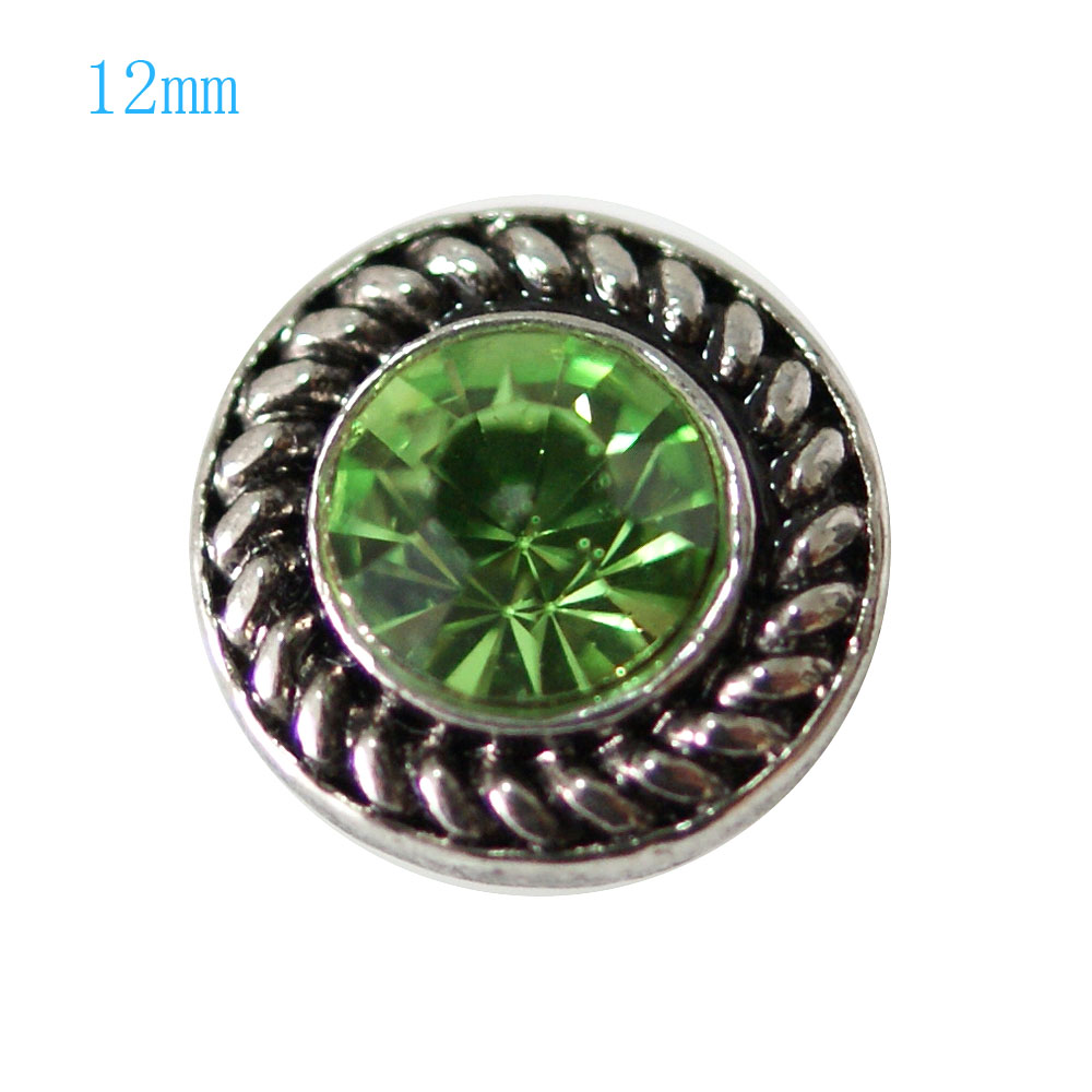 Mini Snap 12mm - Rhinestone Faceted Lime Green