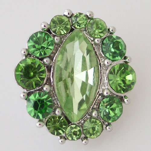 Snap Jewelry Rhinestone - Faceted Oval Center - Green