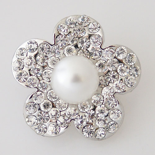 Snap Jewelry Pearl - Flower & CZ