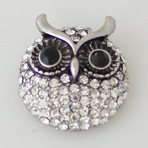 Snap Jewelry Rhinestone - Owl - Clear