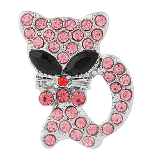 Snap Jewelry Rhinestone - Cat Pink