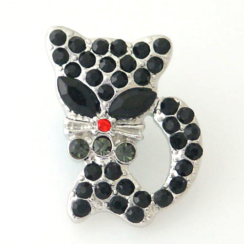 Snap Jewelry Rhinestone - Cat Black