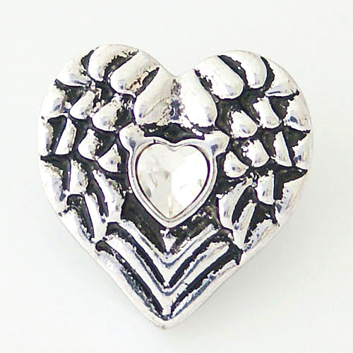 Snap Jewelry Rhinestone - Angel Wings Heart Clear