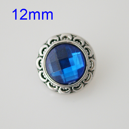 Mini Snap 12mm - Rhinestone Faceted Blue