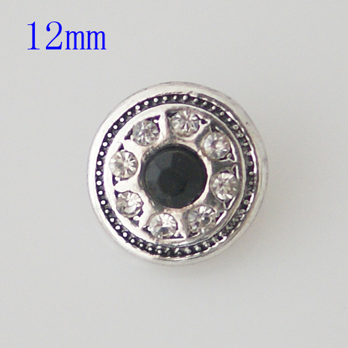 Mini Snap 12mm - Rhinestone Faceted Black & Clear