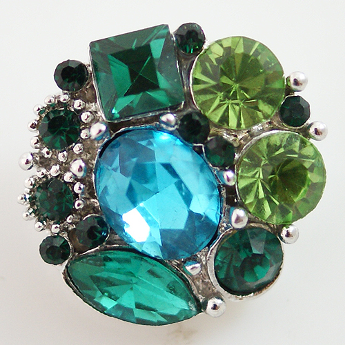 Snap Jewelry Rhinestone - Multi Cluster - Teal Green Shades