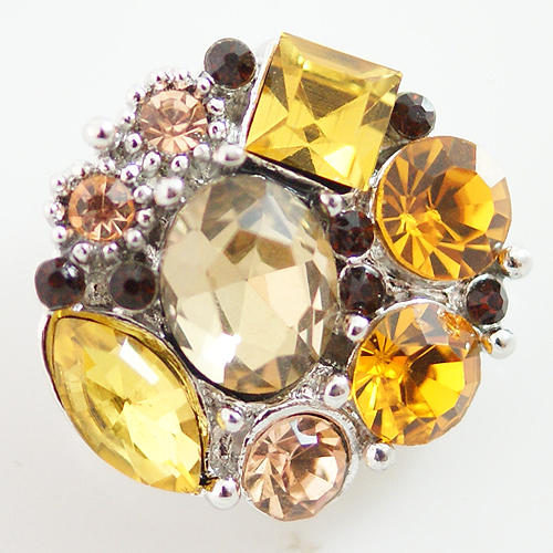 Snap Jewelry Rhinestone - Multi Cluster - Yellow & Beige Shades