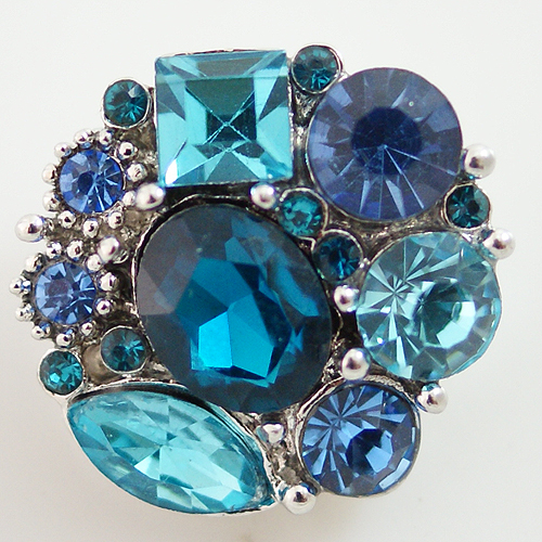 Snap Jewelry Rhinestone - Multi Cluster - Blue Shades