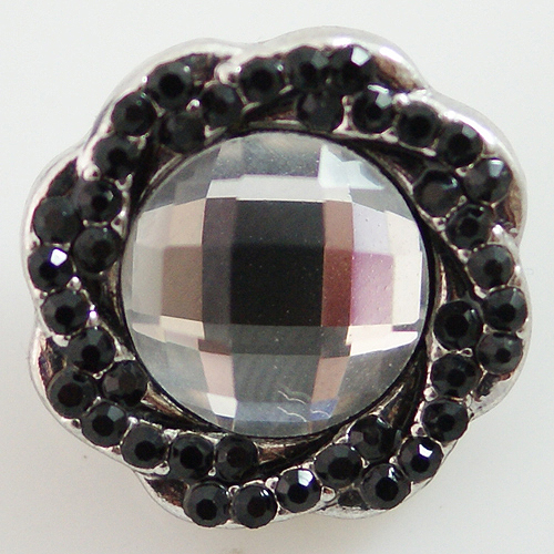 Snap Jewelry Rhinestone - Faceted Weaved Center - Black