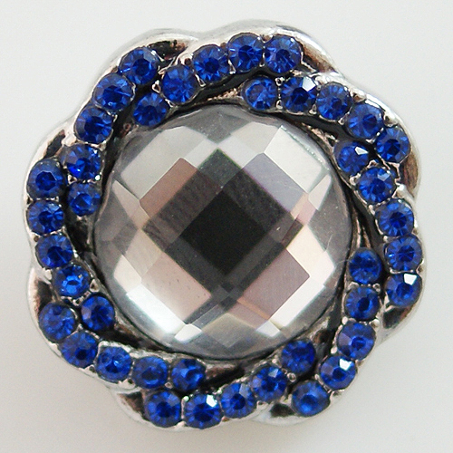 Snap Jewelry Rhinestone - Faceted Weaved Center - Dark Blue