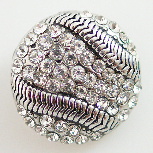 Snap Jewelry Rhinestone - Baseball - Clear
