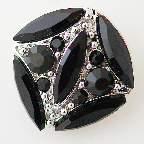 Snap Jewelry Rhinestone - Faceted Oval Crystal - Black