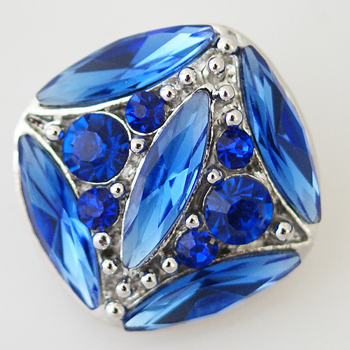 Snap Jewelry Rhinestone - Faceted Oval Crystal - Blue