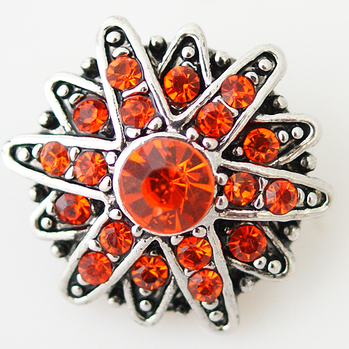 Snap Jewelry Rhinestone - Faceted Star - Orange