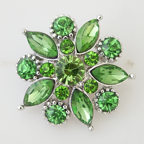 Snap Jewelry Rhinestone - Faceted Flower Design - Lime Peridot