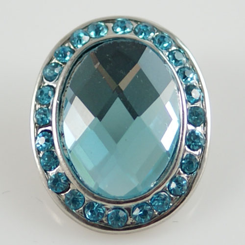 Snap Jewelry Rhinestone - Faceted Oval - Light Blue